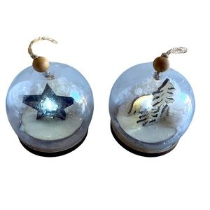Wooden Christmas snow globe ornaments with lights